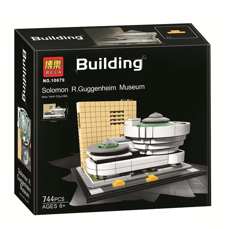 New 744Pcs Landmark building solomon R.Guggenheim Museum Model Building Kits Figures Blocks Bricks Educational Children Toy Gift movado museum classic 0606503