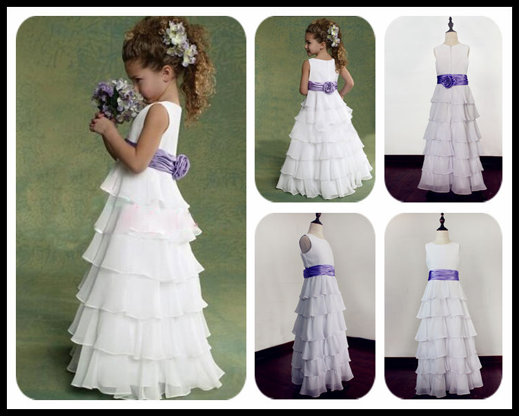 Chiffon Flower Girls Dresses For Wedding Gowns Ankle-Length Kids Prom Dresses Free Shipping Mother Daughter Dresses For Girls