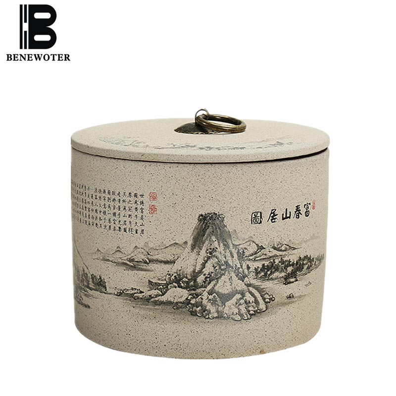 Vintage Ceramic Tea Caddy Moisture Proof Sealed Tea Cans Kitchen Accessories Tea Storage Canister Coffee Beans Storage Bottles title=