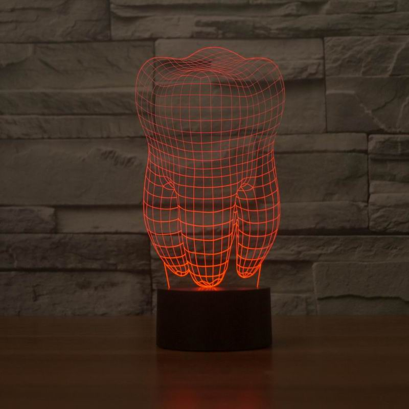 New 3D illusion creative decorative night lamp tooth shape diy - Night Lights - Photo 4