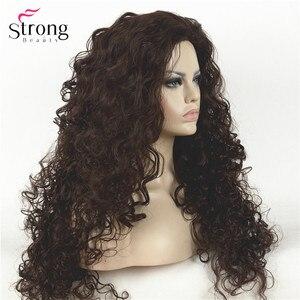 Image 2 - Perruque synthétique complète Afro bouclée longue brun foncé, perruques pour femmes