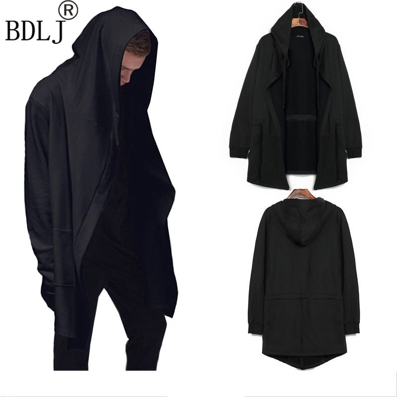 2017 Men Hooded Jacket Black Gown Best Quality Hip Hop Mantle Hoodie Sweatshirts Long Sleeves Cloak Coats Outwear Man Fashion
