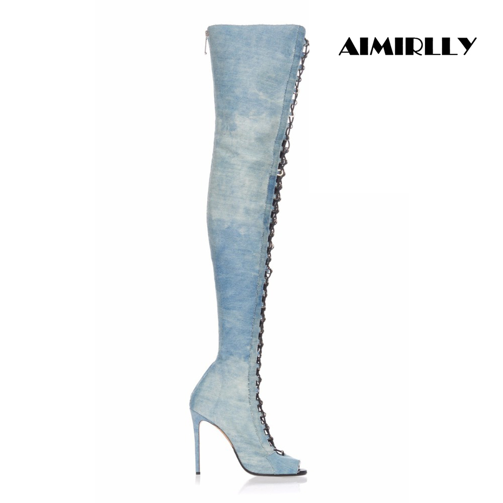 Ayakk.'ten Diz Üstü Çizmeler'de Kadın Bayanlar Açık Ağızlı Lace Up Uyluk Yüksek Diz Çizmeler Stiletto Büyük Boy ABD 4 15.5 Destek özel Fit El Yapımı'da  Grup 1