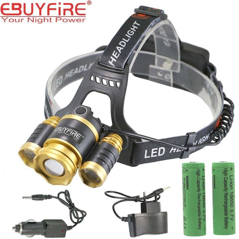 3 led rechargeable headlamp XML T6 head lamps Head light Lantern + 18650 <font><b>battery</b></font> + EU/US Charger