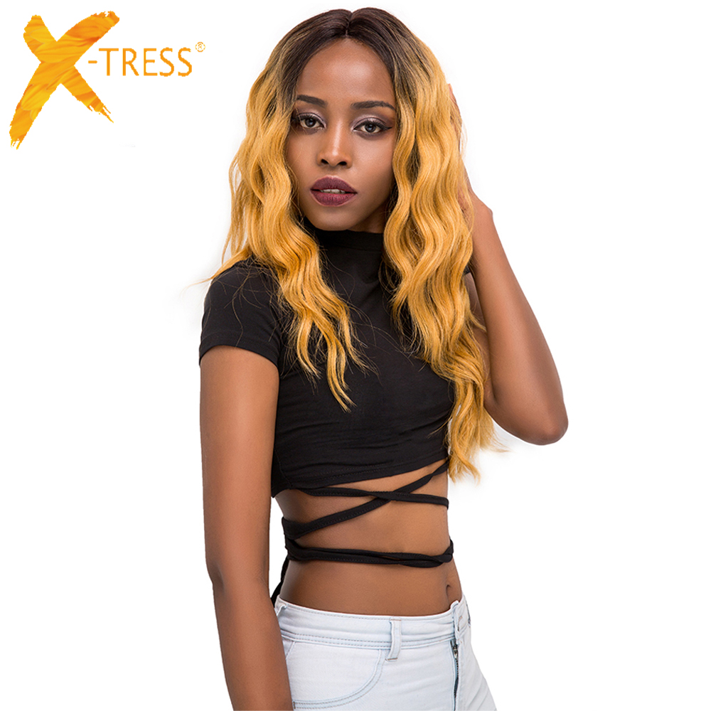 X-TRESS Trendy Wigs Blonde Synthetic-Hair Lace-Frontal Natural-Wave Ombre Middle-Part