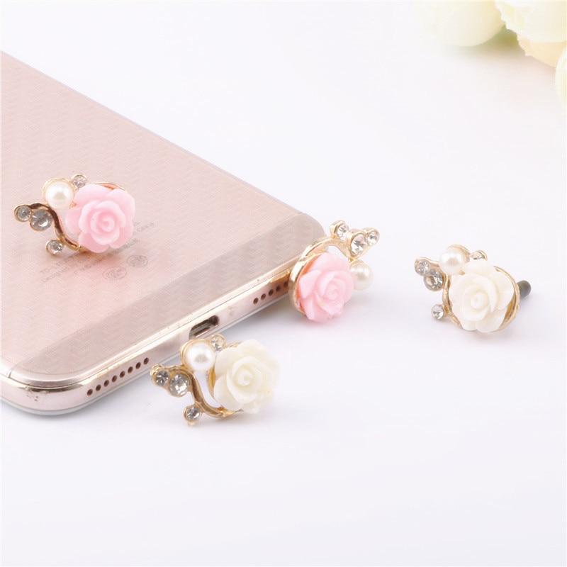 Rose Anti Dust Plug Phone Accessories For iPhone Samsung Smartphone Jack Headphone Port Dust Plug Universal Phone Accessories