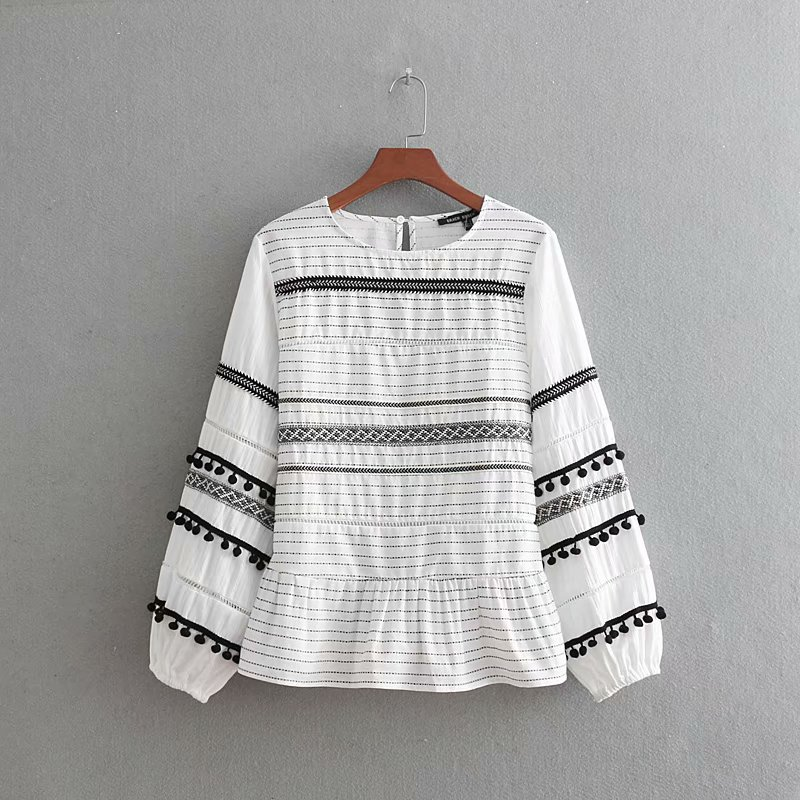 women vintage tassel ball splicing ribbon striped casual smock   blouse     shirt   women linen chic blusas lace femininas tops