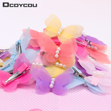 5PCS Cute Colorful Butterfly Pearl Hair Clips Kids Gift Hairpins Children Butterfly Hair Clips Girls Hair Accessories Jewelry