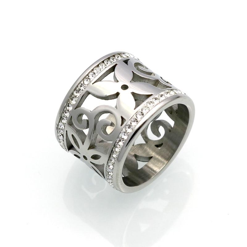 BORASI New Crystal Rings For Women White Rhinestone Stainless Steel Gold Color Wedding Female Flower Rings Teen Jewelry 2