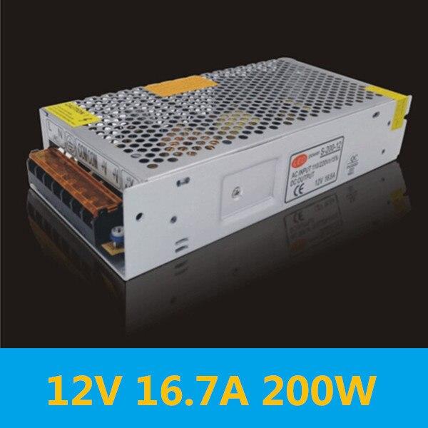Lighting switch power AC110V / 220V to DC12V transformer power supply 12V 16.7A 200W for LED strip 5050 5630 5730 power supply ac 110v 220v to dc 5v 350w voltage transformer switch power supplies for led strip rainproof fy350w 5v