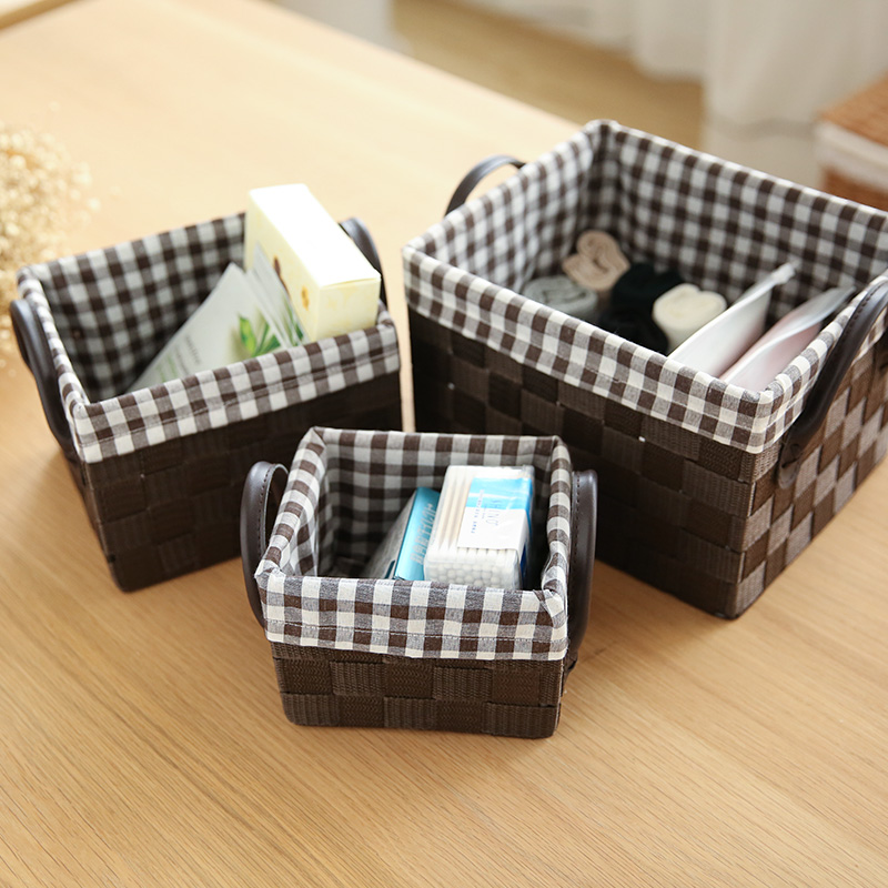 Japanese-style Cosmetic Office Storage Box with Handle A Variety of Sizes Finishing Box Socks Storage Basket Without Cover