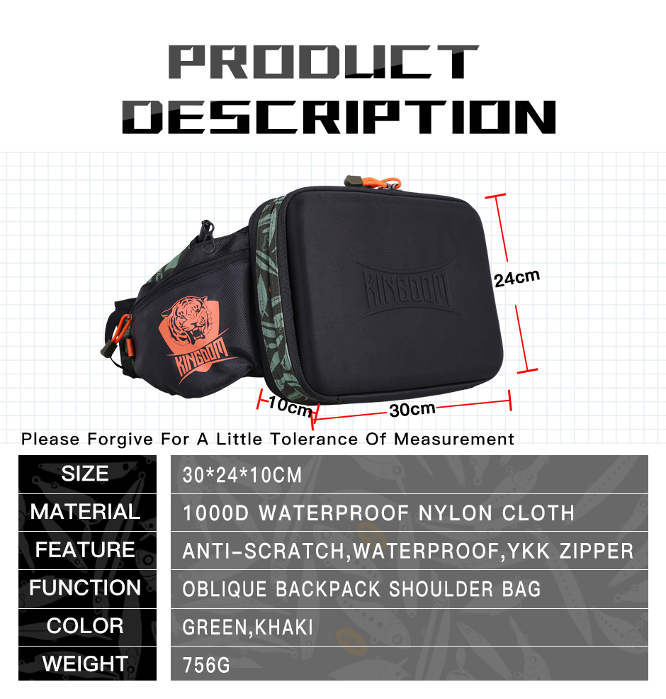 Kingdom 2019 New Waterproof Fishing Bag Large Capacity Multifunctional Fishing Lure Box Tackle Backpack Outdoor Shoulder Bags 8