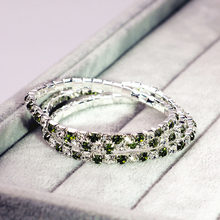 Single Rows Crystal Bridal Wedding Bracelet Peridot Green Copper Alloy Bracelet(China)
