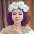 Alta Qualidade Lotus Flores de Noiva Acessório de Cabelo Nupcial Da Flor Do Casamento Garland Headbands Coroas headband do Elástico