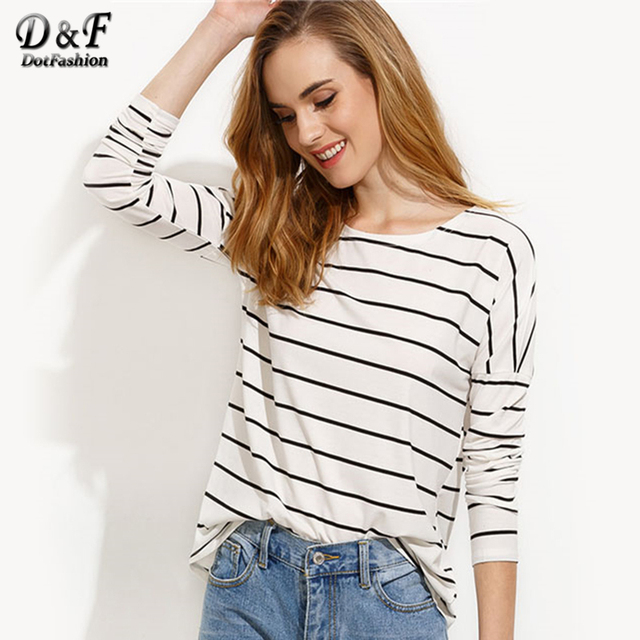e82f15aa830 Dotfashion White Striped Drop Shoulder Ladies T-shirt Long Sleeve Round  Neck Top 2019 Women Autumn Casual T Shirt