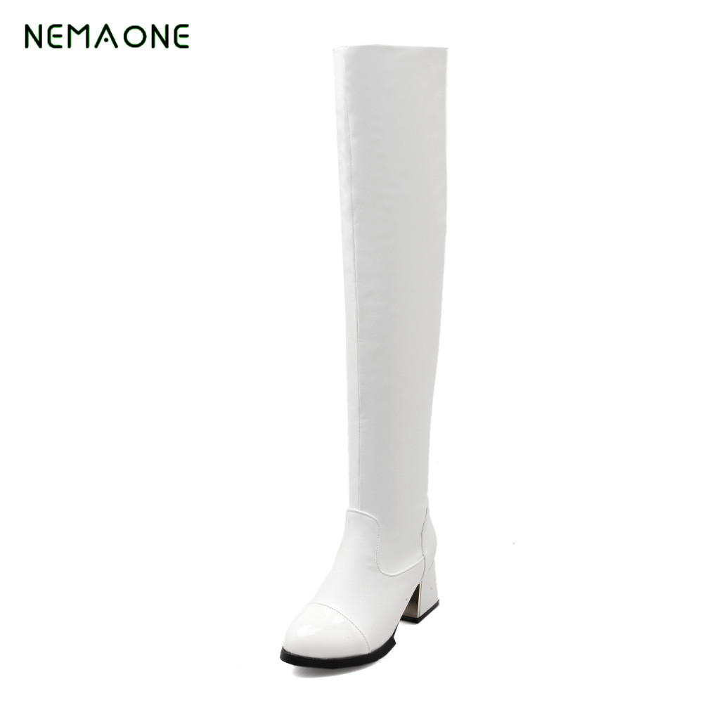 NEMAONE 2017 new thigh high boots Women over the knee high boots Ladies Autumn winter lace up High heel boots 2017 winter women riding boots high heel fold over design near the ankle with lace detailing at side over the knee boots