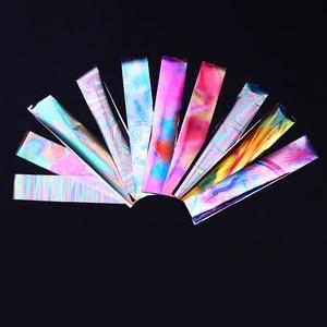 Image 5 - Parlak gökyüzü lazer tırnak kaplaması seti mavi şeffaf mermer Nail Art transferi Sticker dekorasyon DIY