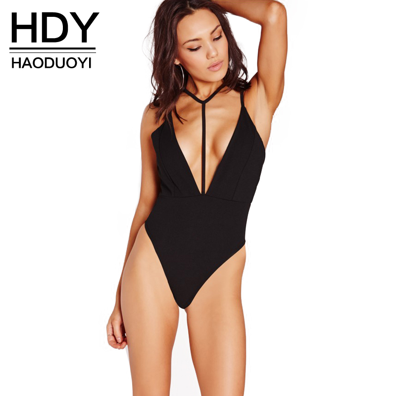 Haoduoyi 2016 Women New Fashion Hollow Out Backless Sexy Deep V Neck Spaghetti Strap Romper Basic Bodysuit Price $13.78