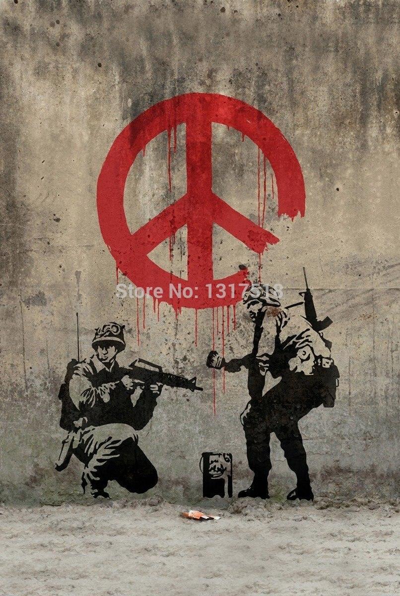 Sticker wall graffiti - Banksy Peace Art Graffiti Wall Sticker Poster Home Decoration China Mainland