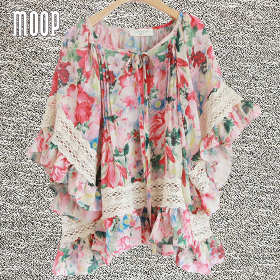 Multi floral printed tops flare sleeve chiffon blouse shirts blusas y camisas blusa camisetas y tops renda vetement femme LT626
