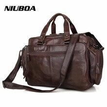 NIUBOA 100% Genuine Leather Bag Man Business Laptop Bags Big Euro Briefcase Many Offices Pockets Crossbody Shoulder Handbag Bags