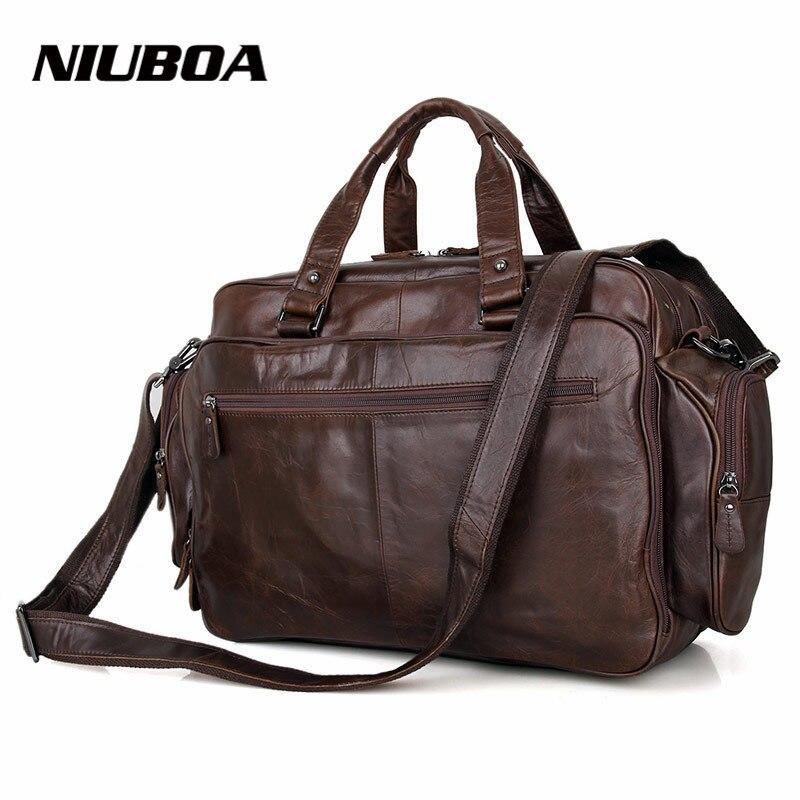 NIUBOA 100% bolso de cuero genuino hombre negocios Laptop bolsas gran Euro maletín muchas oficinas bolsillos bandolera bolso de mano