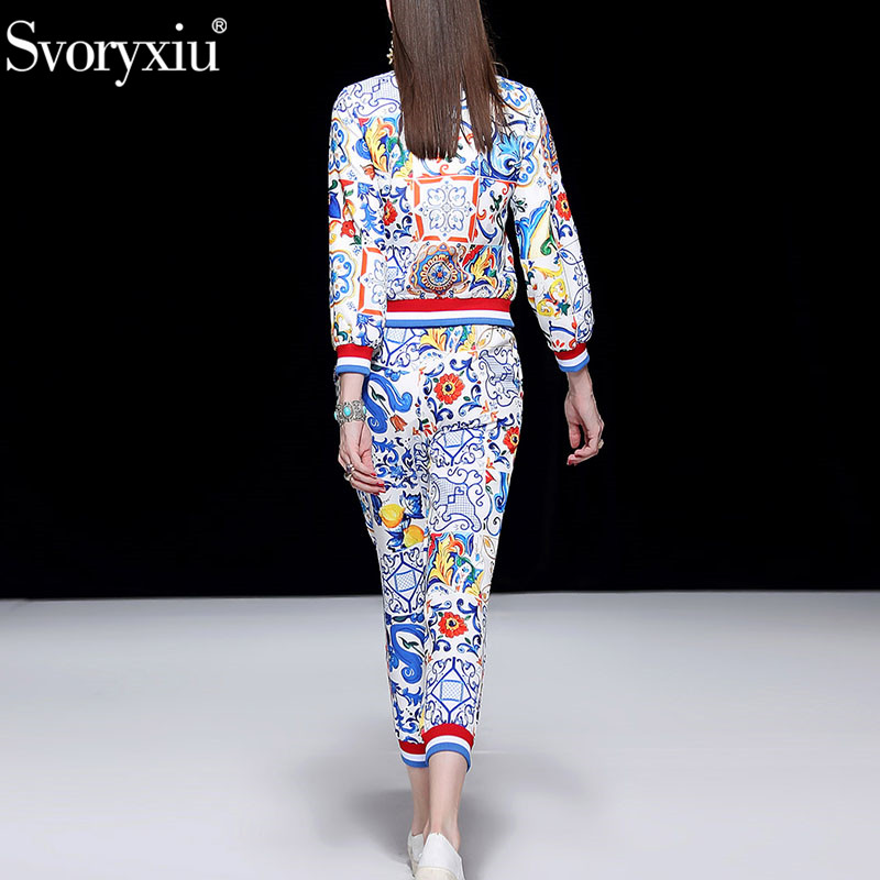 Svoryxiu 2018 Runway Autumn Winter Fashion Trousers Two Piece Set Long Sleeve Coat + Casual Pants Painted Pottery Print Suit Set