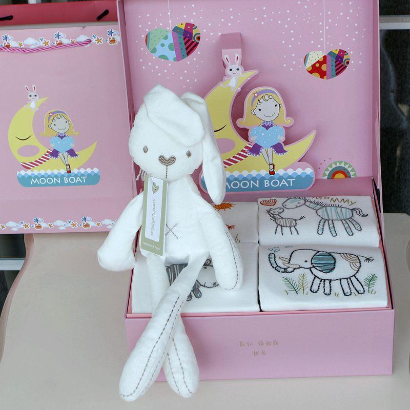 ФОТО 2017New Hot Sale 5Pieces Baby Long Sleeve Rompers Set Cartoon Rabbit Doll Comfort Toy Gift Newborn Infant Birthday Gift