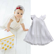 Cute Baby Girls Summer Dress Ruffles Sold Chiffon Princess Party Pageant Fold Dress Sundress 1-6Y