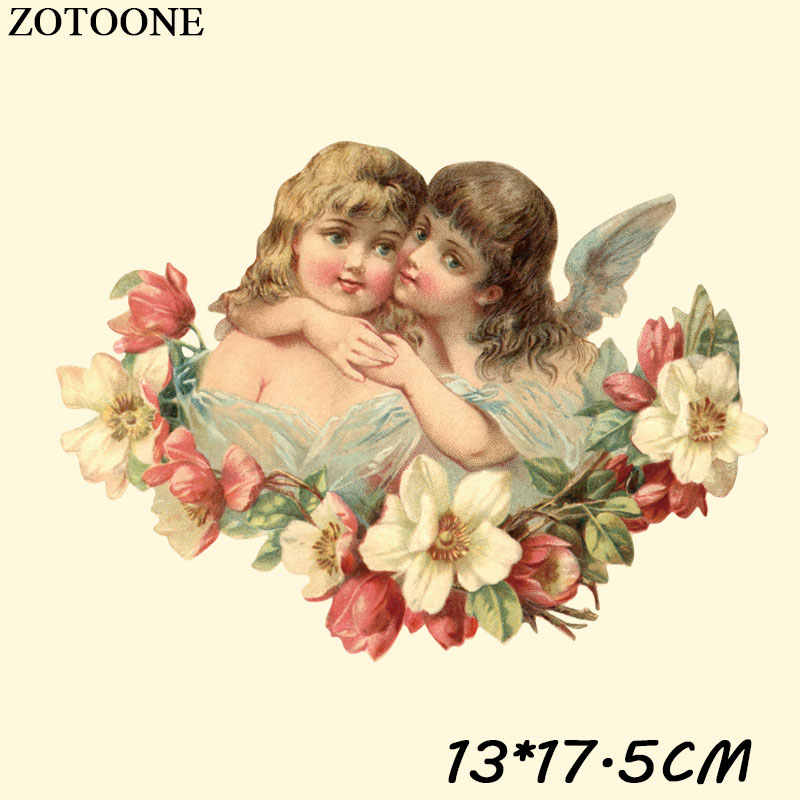 ZOTOONE Iron On Flower Angel Patches For Clothes T-shirt Stickers Iron on Transfers Applique DIY Accessory Decoration Heat Press