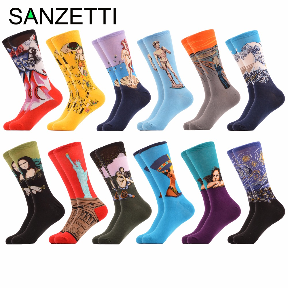 SANZETTI 12 pairs/lot Wholesale Mens Funny Combed Cotton Socks Dress Novelty Casual Crew Socks Male Dozen Packs Wedding Socks
