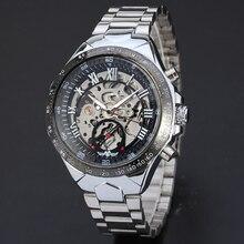 Nuevo Ruso Esqueleto Relojes Automáticos De Los Hombres de Plata de Acero Inoxidable Reloj de Pulsera Relojes de Vestir 161109