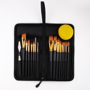 Image 3 - 17 Pcs Set Artist Paint Brush With Carrying Case Knife Case Sponge Painting Black for Watercolor Paintbrush Oil Acrylic Drawing