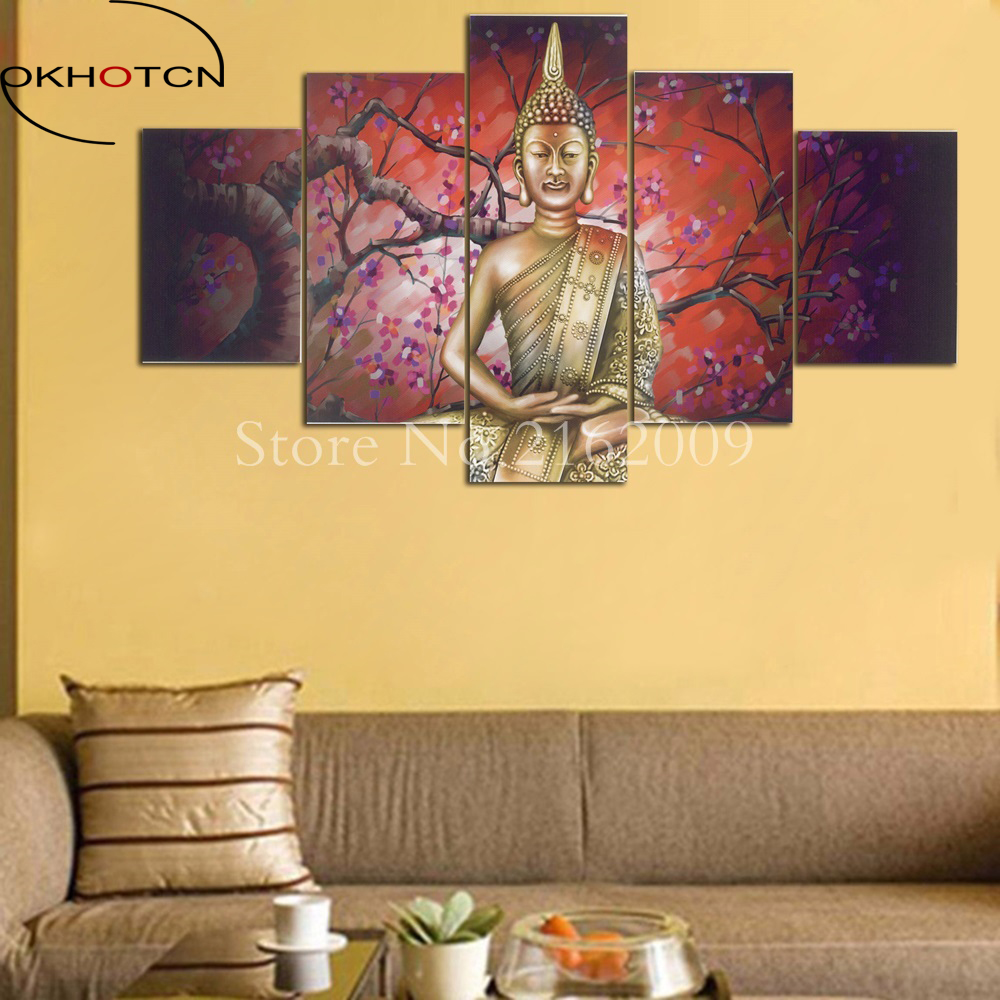 OKHOTCN 5 Panel Abstract Printed Buddha Painting Canvas Wall Art ...