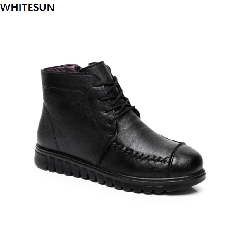 WHITESUN winter womens shoes pu Leather female ankle boots antiskid soles women short boots warm Cotton shoes lace up design
