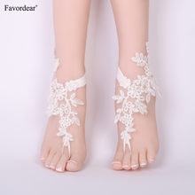 Favordear 2019 New Wedding Gloves Lace Anklets Barefoot Sandals Beach Wedding Bridal Anklet Prom Party Bellydance Accessorie(China)