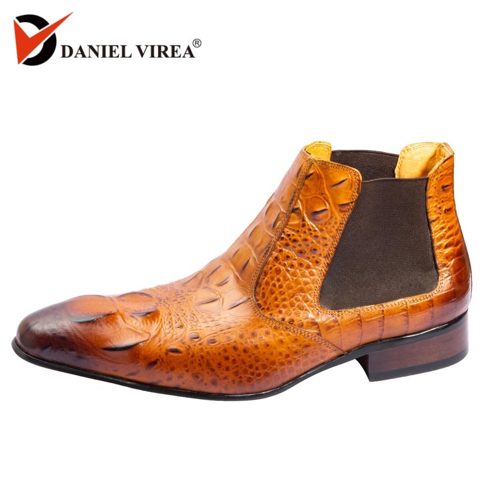 мужские ботинки челси натуральная кожа Сапоги Челси из модные Аллигатор печать острый носок лодыжки туфли кожанные берцы