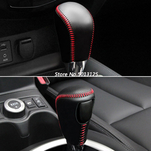 Car Leather Knob Cover For Nissan X-Trail X Trail J32 2014-2019 Gear Head Shift Collars Case Stylings