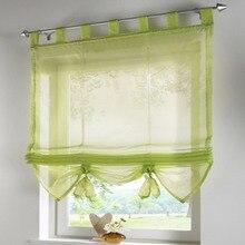 2017 cortina de la ventana persianas cortina Romana moda empate estilo Europeo con cuentas cortina de la cocina voile sheer cortinas pestaña superior marca