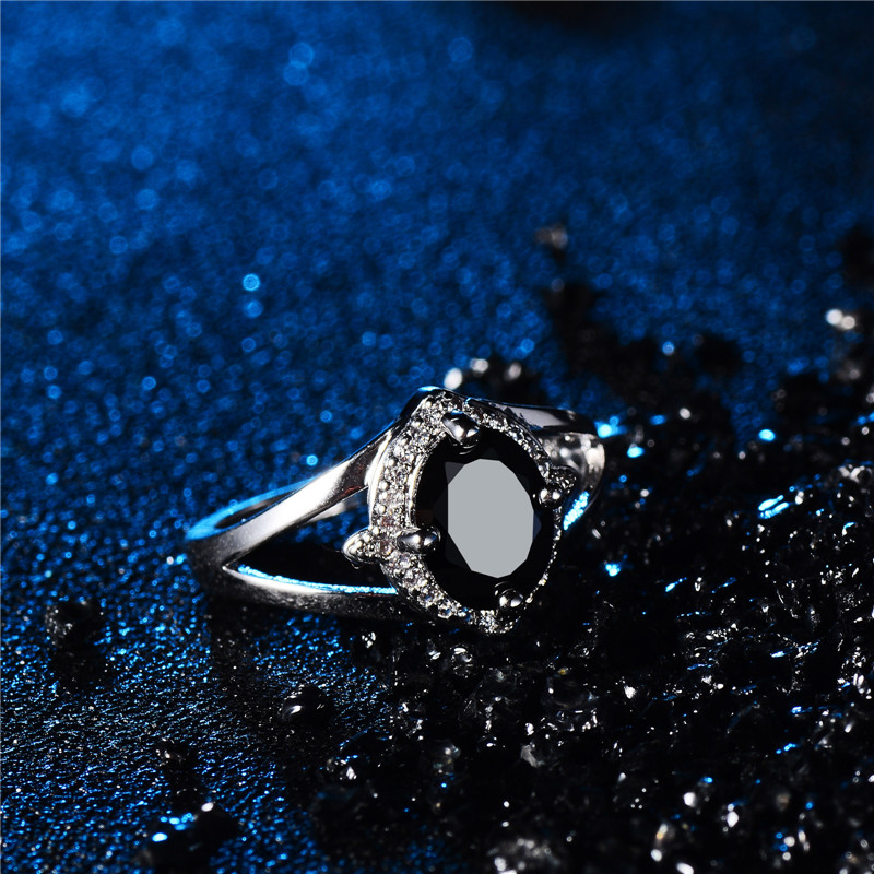 H:HYDE White/Black CZ Zircon Stone Wedding Ring for Women Bands New Fine Jewelry Bague Anillos Size 8