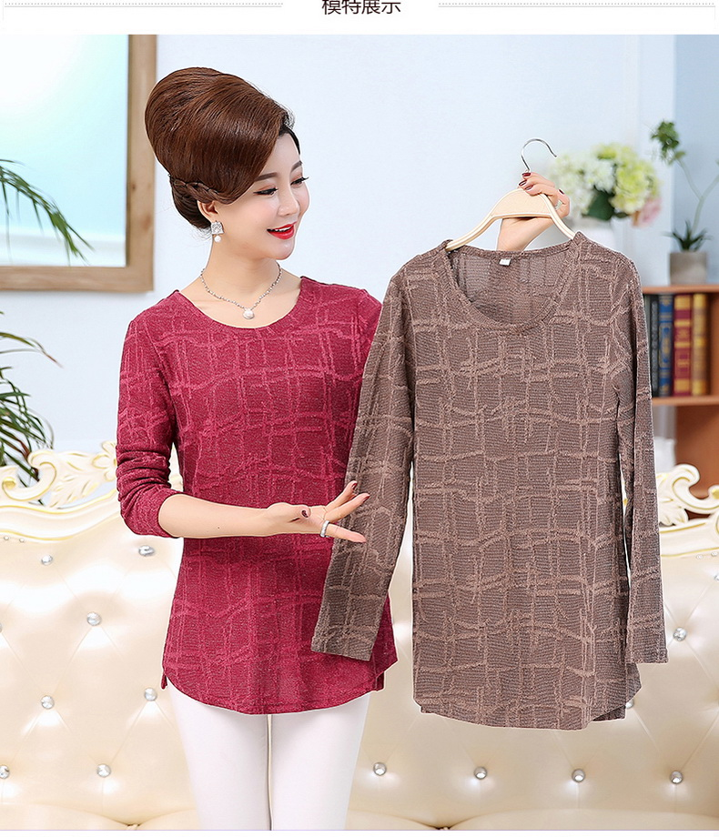 WAEOLSA Autumn Woman Basic Tops Red Khaki Green Knitted Blouses Middle Aged Womens Round Collar Tunic Mother Casual Blouses Plus Size Tops (4)