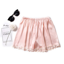 Women Lace Sleep Shorts Sexy Silk Sleeping Satin Sleepwear B