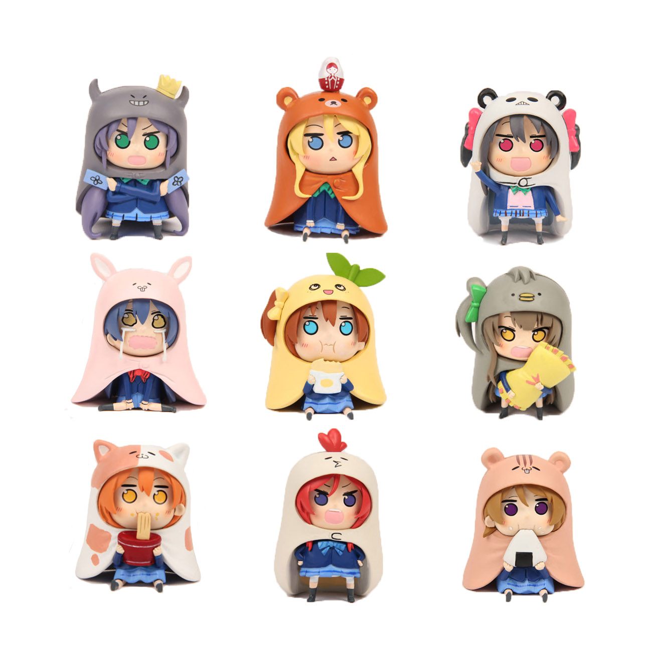GSC Nendoroid 9pcs Set Japanese Anime Figure U M R Cute Nendoroid Doma Umaru PVC Action