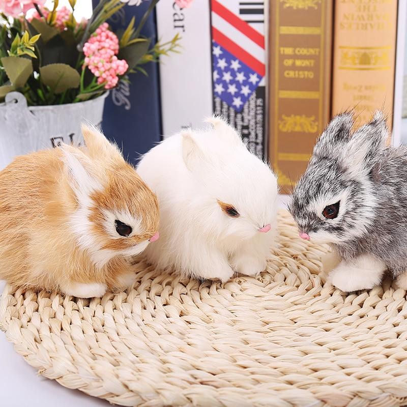 мех Mini Realistic Cute White Plush Rabbits Fur Lifelike Animal Easter Bunny Simulation Rabbit Toy Model Birthday
