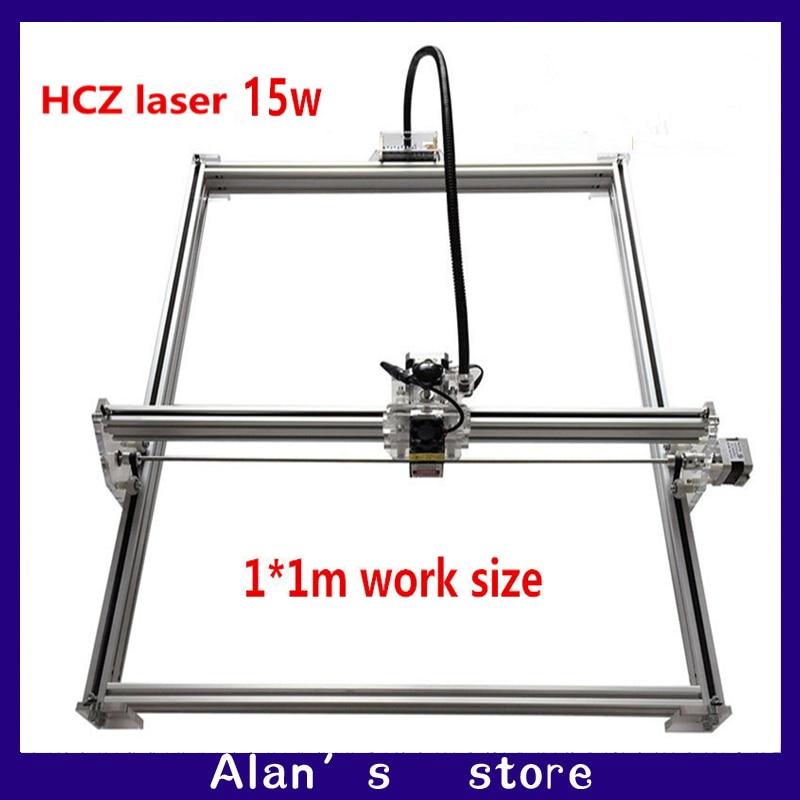 Machine de gravure en métal de laser de grande puissance de bricolage 15 w, découpeuse de laser de CNC machine de gravure de laser de taille de 1*1 m, machine de marquage