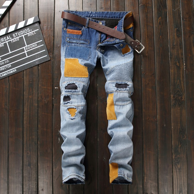 New Fashion Mens Ripped Jeans Distressed Light Blue Jeans With Patchwork Stitching Pad Slim Fit Biker Jeans Pants Size 29 To 38 2017 biker jeans mens high stretched zipper distressed jeans new fashion pantalones vaqueros hombre bmy1903