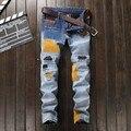 Nueva Moda Para Hombre Pantalones Vaqueros Rasgados Apenada Luz Blue Jeans Con Patchwork costura Pad Slim Fit Pantalones vaqueros Del Motorista Tamaño 29 A 38