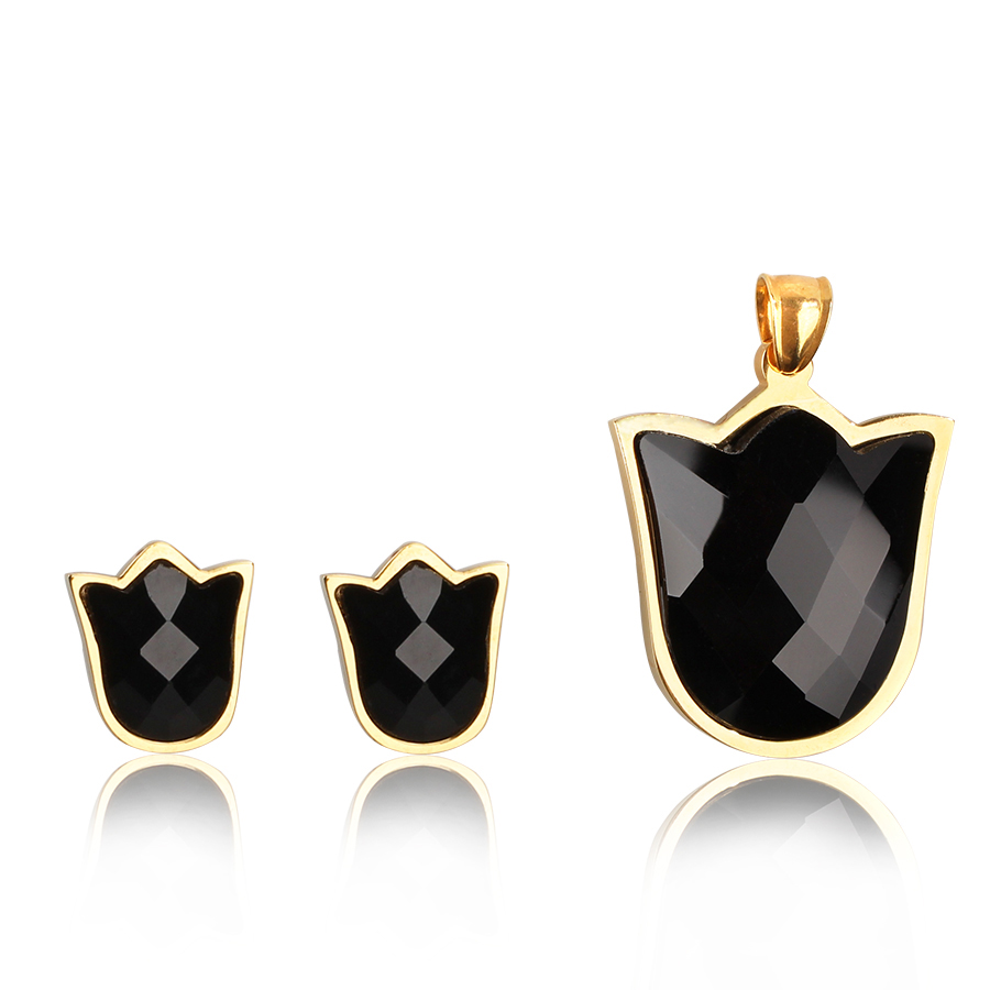 TL King Black Zircon Floating Locket Glass Pendant Necklace&Earrings Jewelry Set Wishing Bottle For Children Family Love