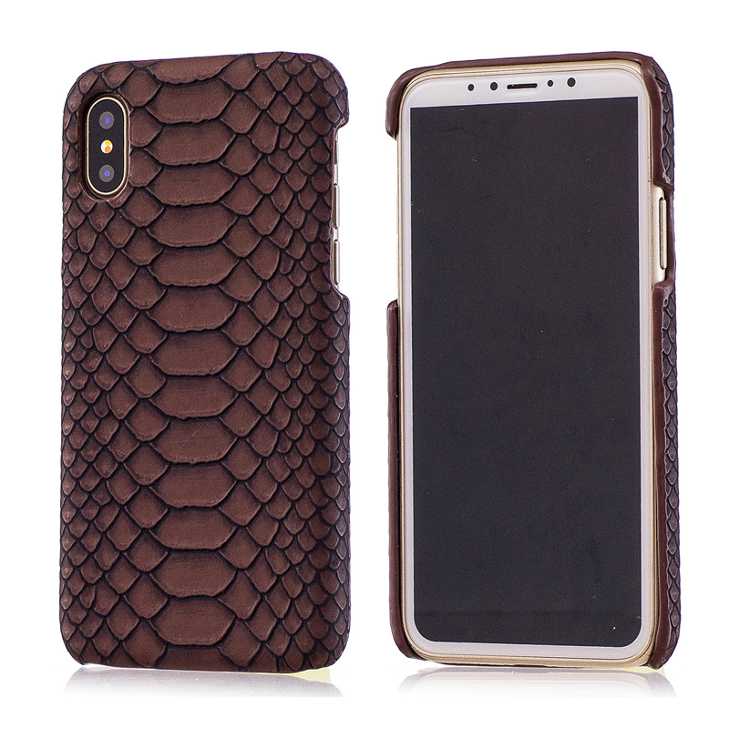 Luxury cases for iphone X Sexy Snake Skin Slim Case for iPhoneX Leather+Hard Plastic Business iX Cell Phone Back Cover Shell