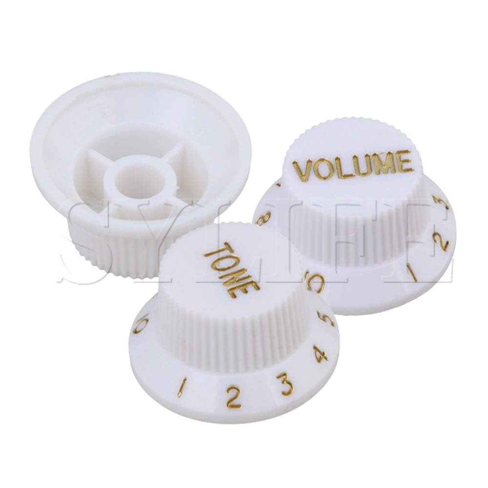 White PKG3 VOLUME TONE CONTROL KNOBS FOR Electric GUITAR